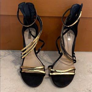SCHUTZ Black & Gold Strappy Heeled Sandals